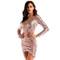2018 New Fashion Summer Sequin Dress Sexy Party Dresses Mini Gold Short Dress Vestidos Bodycon Elegant