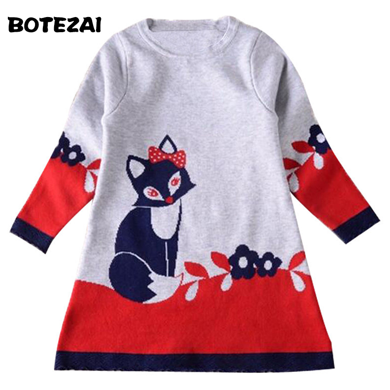 Girl Dress Autumn & Winter New Double-layer Long-sleeve Kids Fox Clothing Thick Girl Fox Sweater Dress for Children 2-6 Years t100 children sweater winter wool girl child cartoon thick knitted girls cardigan warm sweater long sleeve toddler cardigan