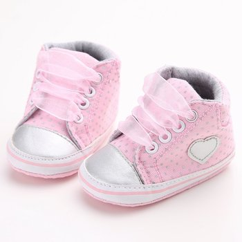 Infant Newborn Baby Girls Polka Dots Heart Autumn Lace-Up First Walkers Sneakers Shoes Toddler Classic Casual Shoes 1