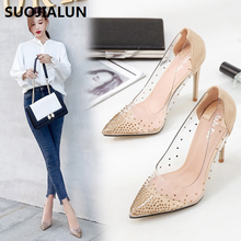 SUOJIALUN 2019 Rhinestone Women Pumps Wedding Shoes Spring Summer High Heels PVC Sexy Party Crystal Hight heel sandals