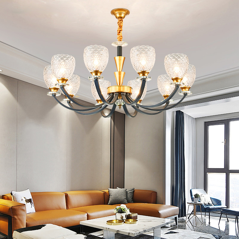 Modern Gold Gray Metal Led Chandeliers Lighting Living Room Diamond Glass Led Pendant Chandelier Lights Bedroom Led Hanging LampModern Gold Gray Metal Led Chandeliers Lighting Living Room Diamond Glass Led Pendant Chandelier Lights Bedroom Led Hanging Lamp