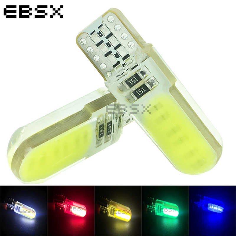 EBSX 100 pcs T10 COB 12 Chips 80MA Silicone Shell 194 W5W Silicone Case Car Auto Parking Light White Blue Red Green Yellow 12VDC