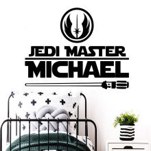 Personalized Custom Name Star War Jedi Vinyl Wall Stickers For Kids Room Decoration Decal Wallpaper Sticker Murals