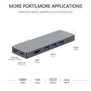 """Image 2 - Adaptateur de Dock Multiport USB C Hub pour Apple MacBook Pro 13 """"& 15"""" 2016,2017,2018,MacBook Air 2018,HDMI 4K, alimentation 100W, 40Gbp"""