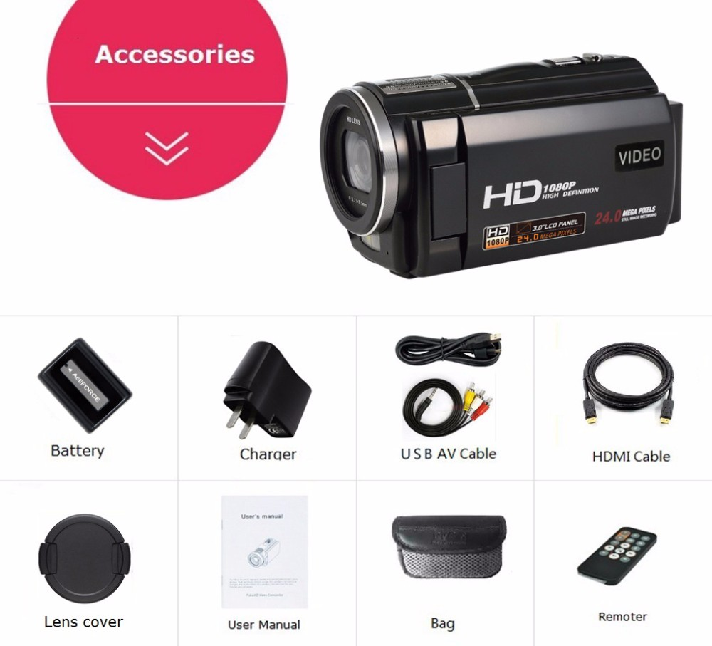 """Marvie 1080p 30fps filmadora Video Recorder 24MP 16X Anti-shake Macro Portable Camcorder 3"""" Touch Screen HDMI out Video Camera 8"""