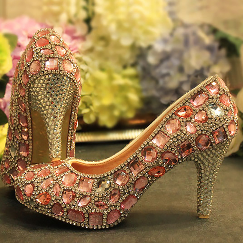 цены Women Wedding Shoes Pink Crystal Bridal Pumps Party Super High Heel Rhinestone Platform Round Toe Slip On Shoes Sexy Ladies Shoe