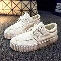 Sapatas da mulher Mulher Sapatos Baixos de Lona Das Mulheres Do Sexo Feminino Calçado Menina Black White Planas 2016 Moda