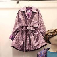 New Korean Fashion Pink Leopard Print Trench Coat High Waist Turn Down Buckle Windbreaker Belt Autumn Overcoat For Women f1285