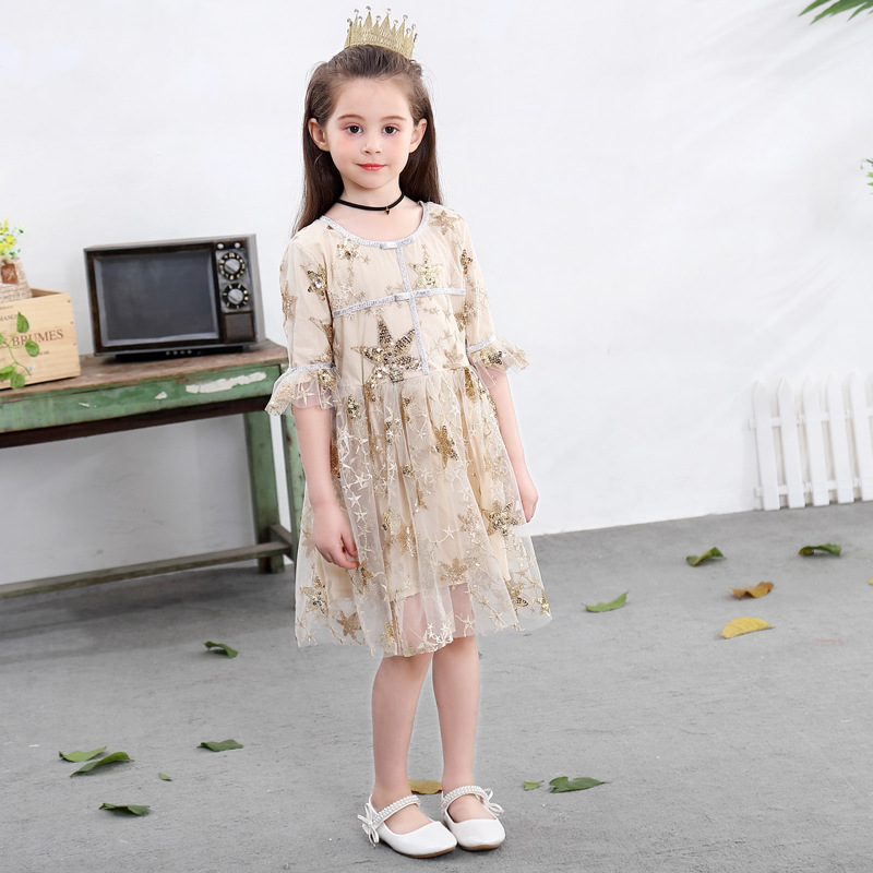 2019 NEW Autumn Gold Star Printed Dress For Baby Girl Kid Party Boutique Beige Dress For Girl Star Dress