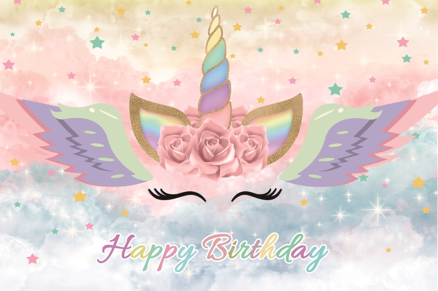 Yeele Birthday Unicorn Cartoon Poster Dreamy Scene Baby Photography Background Child Wall Photographic Backdrop For Photo Studio in Background from Consumer Electronics