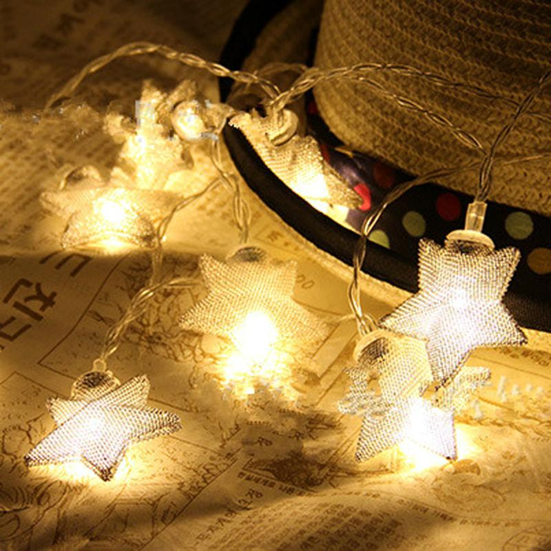 5M Battery Operated Warm White LED String Light 40-LED Metal Star String Fairy Light for Christmas Party Wedding (Silver)
