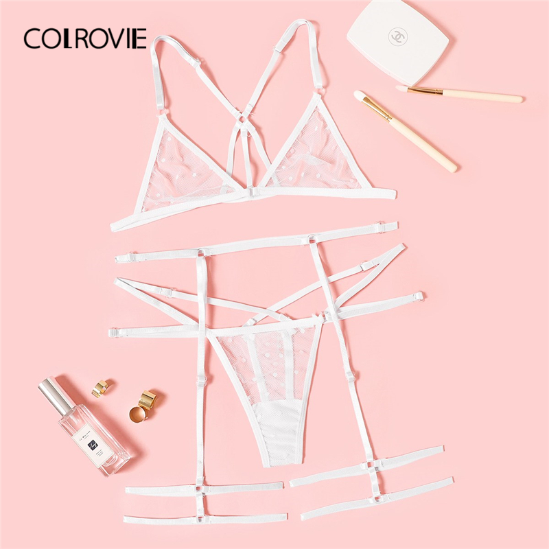 COLROVIE White Lace Harness Sheer Garter Lingerie   Set   2019 Sexy Women Polka Dot Wireless Thongs V-Strings Underwear   Bra     Set