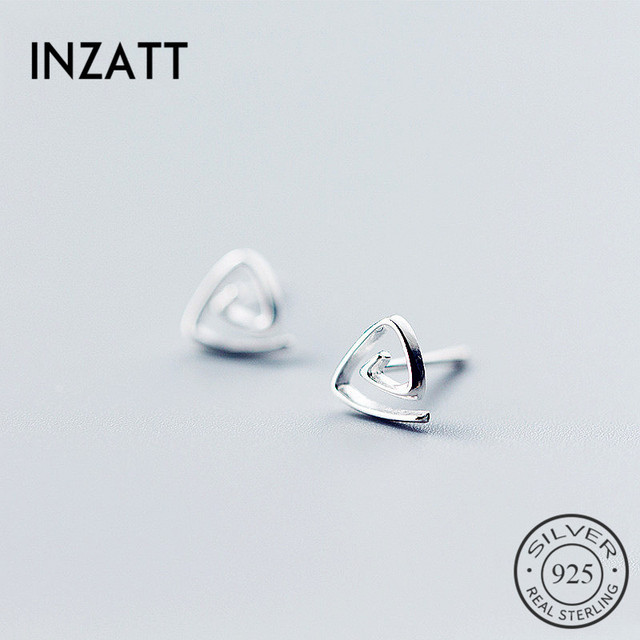 5e7c26b93 INZATT Punk geométrico espiral Mini hueco triángulo Stud pendientes Real  925 plata esterlina para mujeres cumpleaños