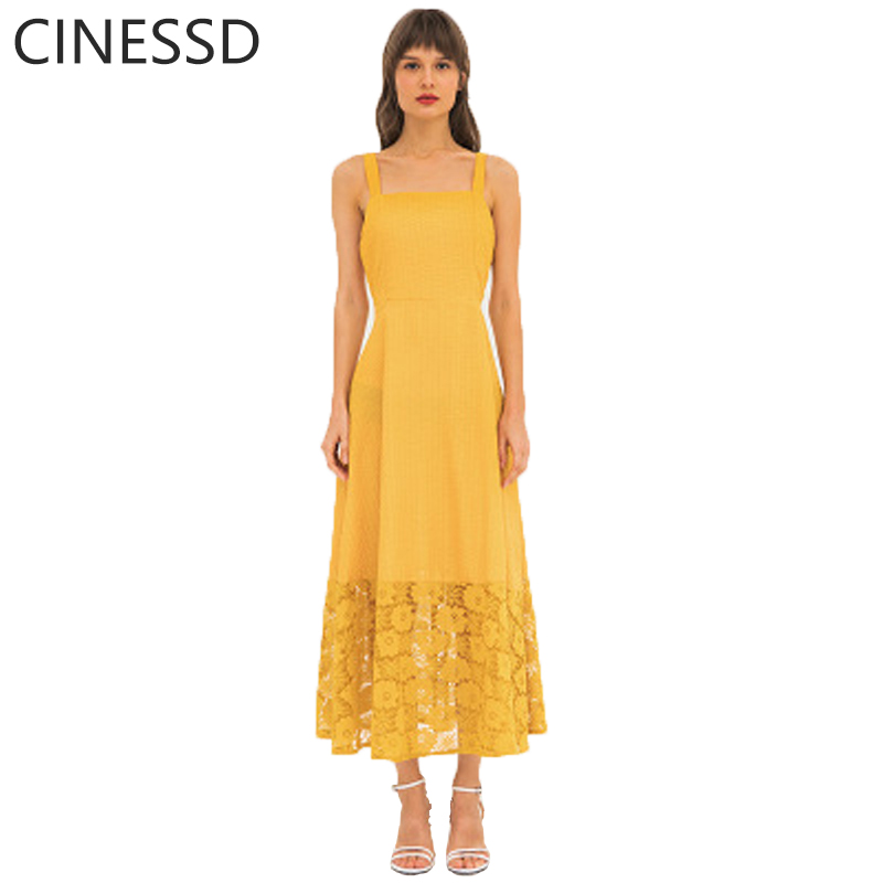 CINESSD Lace Long Dress Women Sexy Strap High Waist A Line Swing Loose Floral Patchwork Hollow Soft Casual Party Maxi