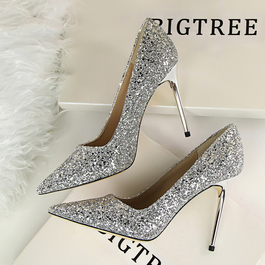 Summer high heeled shallow mouth pointed sparkle sequins sexy slimming nightclub super high heeled American style Women 39 s shoes in Women 39 s Pumps from Shoes