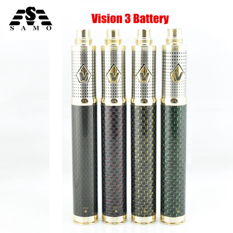 Vision III electronic cigarette Battery Adjustable Voltage 1600mAh carbon fiber battery Big capacity vaporizer fit M16 M14