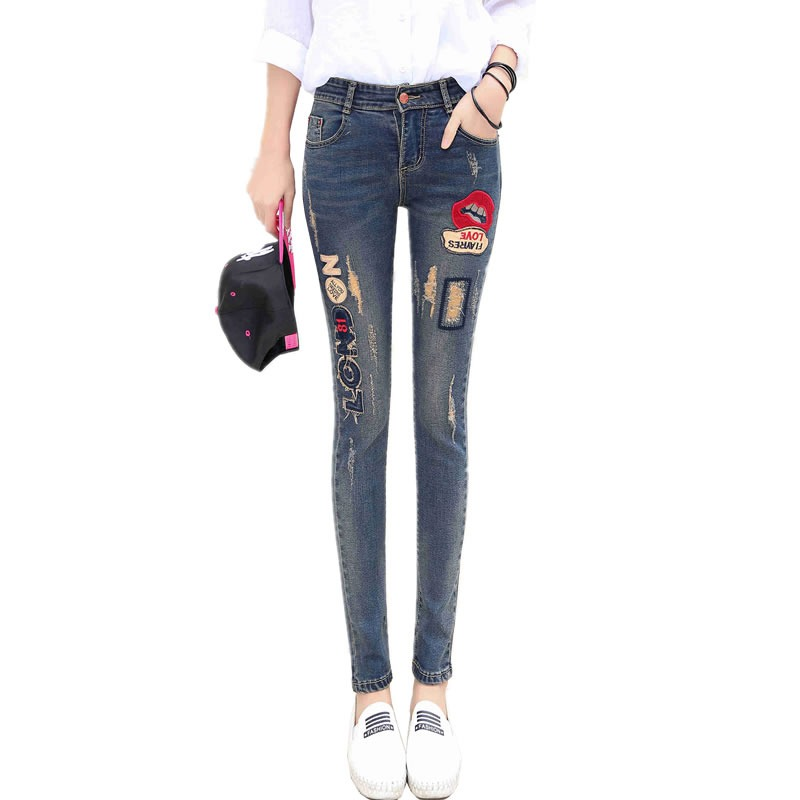 #1302 Distressed jeans women Jeans with embroidery Elastic Skinny ripped jeans for women Pantalon femme Pantalones mujer jeans