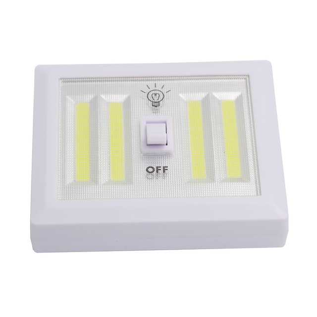 Magnetic 4* COB LED Cordless Light Switch Magic Tape Wall Night Lights  Battery Operated Kitchen