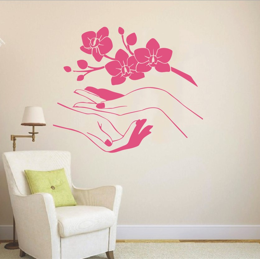 Removable Sakura Vinyl Sticker Flower Orchidea Beautiful Blossom Branch Beauty Salon Hands Wall Stickers Barthroom Decal NY-348