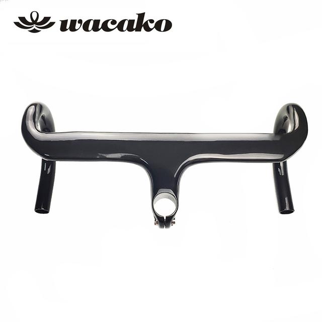 wacako 2019 Full Carbon fibre Integrated Road Bicycle Handlebar Cycling Bike Parts Road Handlebars With Stem 28.6mm 348g
