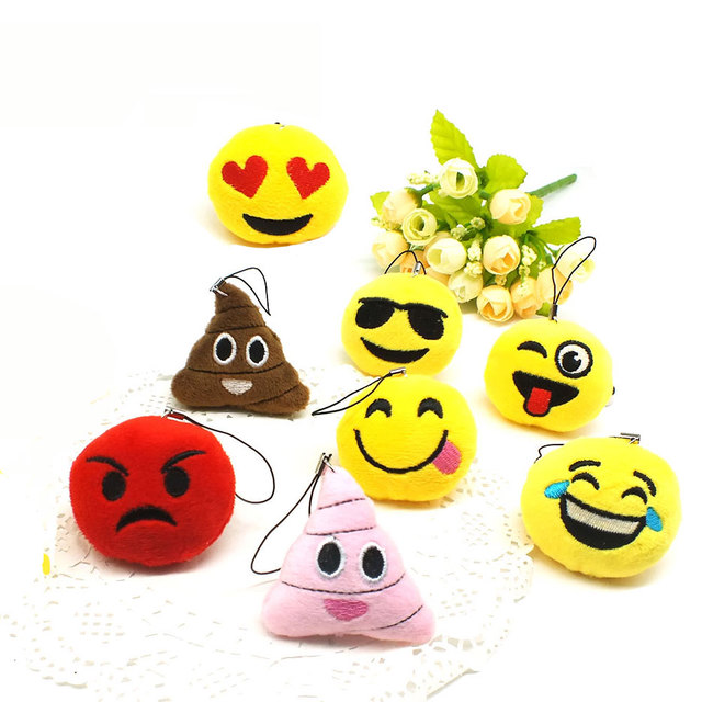 Zoeber Funny emoji cartoon face Anime keychains qq Keyrings Key chains Accessories Soft Round Stuffed Plush smile keychain gift