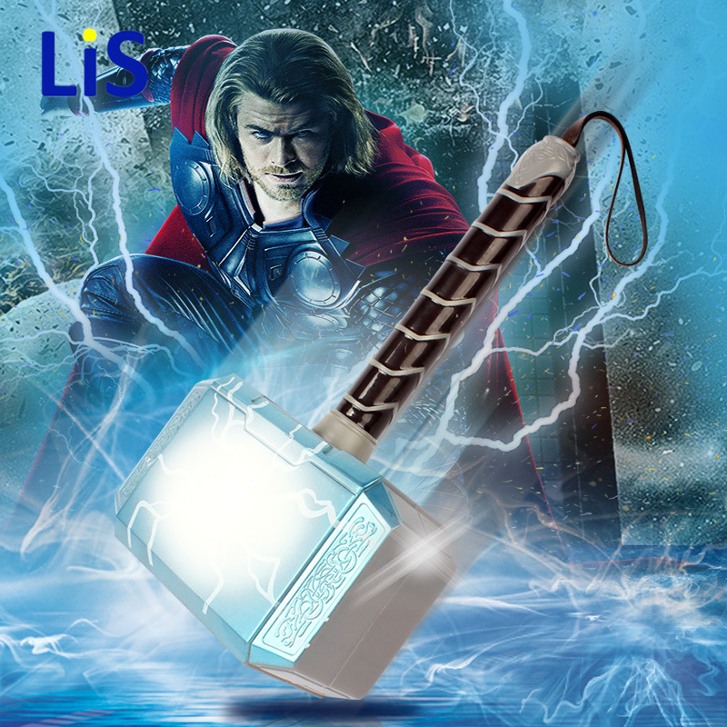 Lis Avengers Thors Hammer Toys Thor Custome Thor LED Light music Cosplay Hammer stage property Kids Gift