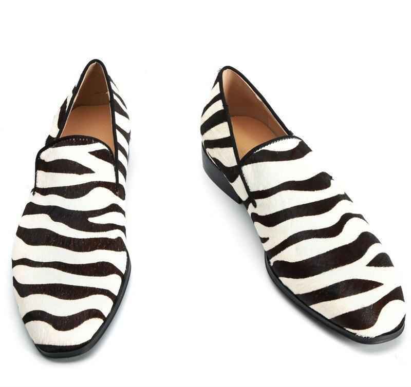 Qianruiti/Мужская обувь ручной работы из конского волоса; Повседневная обувь без шнуровки с принтом зебры для выпускного; модная дизайнерская п... - 5