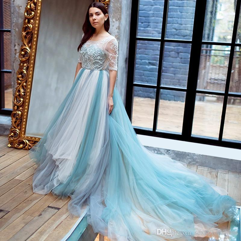 Blue Wedding Dresses 2019: BONJEAN Light Sky Blue Lace A Line Wedding Dresses 2019