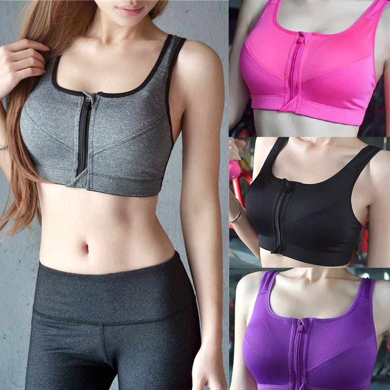 2020 Women Running Shockproof Sports Bra Padded Wirefree With Front Zipper Closure Adjustable Strap High Impact Fitness Tops