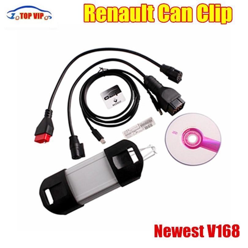 Новые по разумной цене V168 Renault может закрепить obd2 авто сканер Поддержка нескольких языков Автоматический сканер Renault может клип