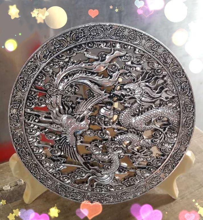 China Fine workmanship white copper silver Longfeng mirror fortune FurnishingChina Fine workmanship white copper silver Longfeng mirror fortune Furnishing
