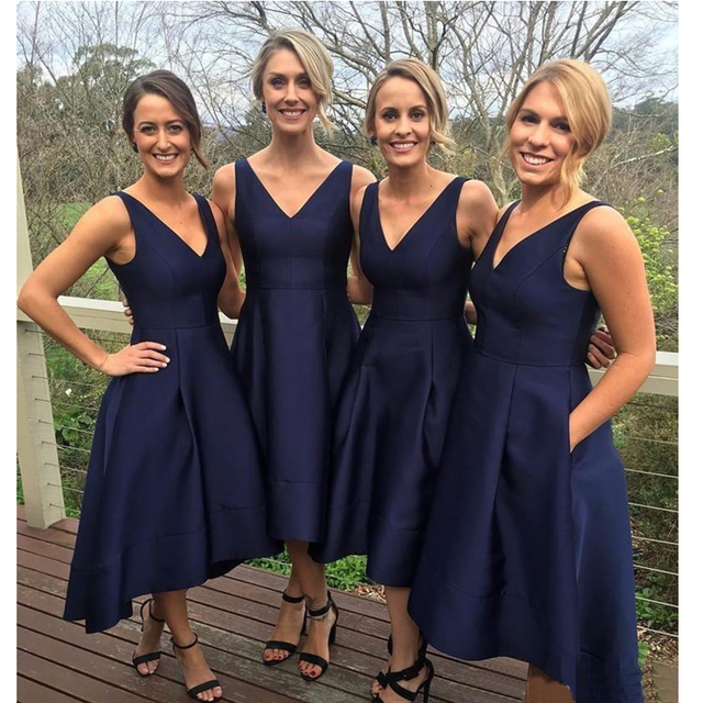 Us 63 75 25 Off Navy Blue Short Bridesmaid Dresses 2019 Simple Satin A Line Tea Length Cheap Women Wedding Party Gowns High Quality Custom Made In