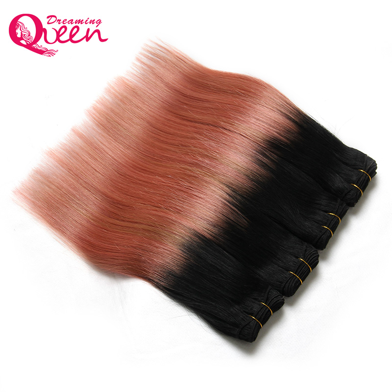 3 Bundles Rose Gold Color Brazil Straight Man Hair Pieces Pieces Remy - Rambut manusia (untuk hitam) - Foto 4