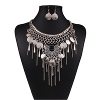 Silver Plated Women Vintage collar Chokers necklaces for women Party Gift Maxi tassel statement necklace earrings jewelry sets