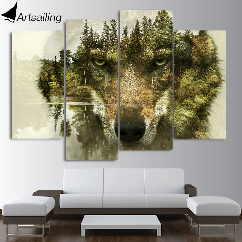 Wall Art 4 Pieces Abstract Animal Wolf Canvas Painting HD Printed Wall Pictures For Living Room On The Wall Home Decor CU-2249B