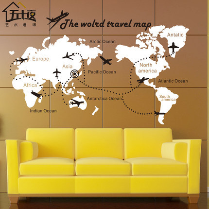 World map vinyl wall decal map of world airplane skyline building world map vinyl wall decal map of world airplane the world travel map lettering wall sticker gumiabroncs Gallery