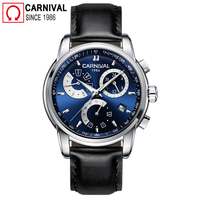 Carnival 2018 Original Automatic Watch Men Leather Strap Mens Mechanical Watches Multifunction Male Clock New Xfcs reloj hombre