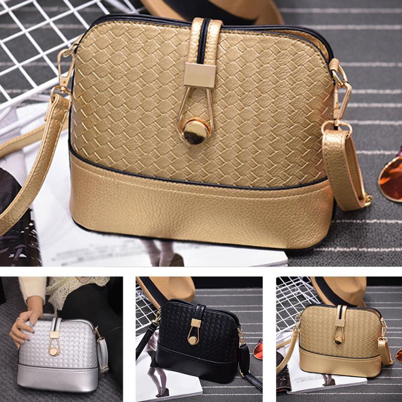 Nuevo bolso de hombro trenzado de moda para mujer, bolso de cuerpo cruzado, negro/plateado/dorado