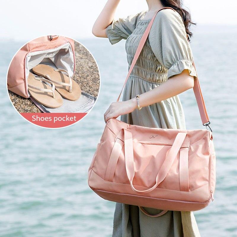 Fashion Foldable Luggage Bag Women Shoulder Duffle Travel Bag In Travel Bags Shoe Compartment Large Capacity Handbag XA786WB