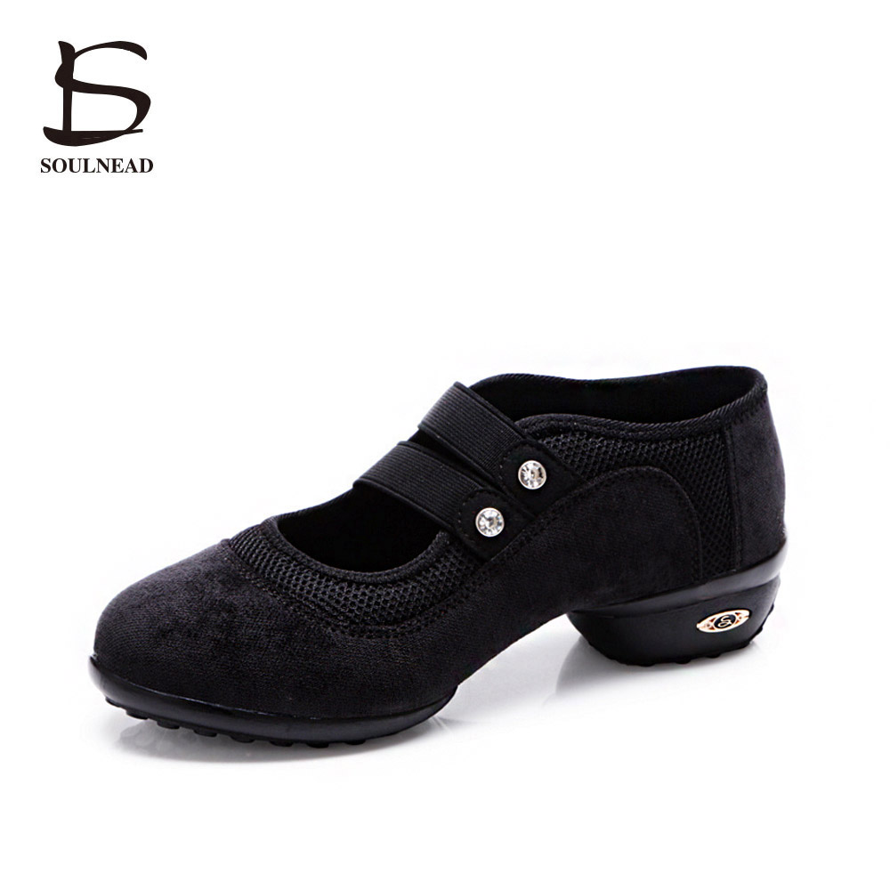 2017 New Dance Sneakers For Women Dancing Shoes Black Red Green Jazz Dance Shoes For Ladies Low Heel Sneakers Womens Tango Shoes