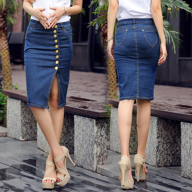 BerylBella 2017 Saia Das Mulheres Estilo Casual Verão Senhoras Saias Azul Tamanho S-6XL Plsus Trecho Saia Jeans Femininas calças de Brim Saia