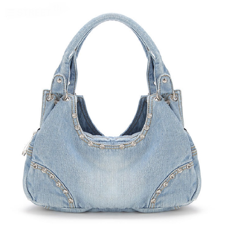 Vintage Half Moon Diamonds Fashion Denim Jeans Shoulder Bags Girls Handbags Crossbody Bag Women Messenger Bags bolsa feminina fashion vintage applique belt girls jeans denim women bags lady s handbags crossbody purse shoulder bag carteira bolsa feminina