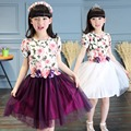 Floral Print Mesh Baby Girl Dress O-neck Teens Girl Princess Dress Happy Holiday Dress for Girl Fashion Chilidren Clothing
