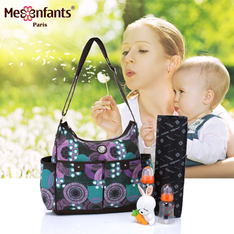 Mesenfants 3 PCS/set Print Baby Bags Multifunction Diaper Bag Mother Maternity Messenger Bags Hobos Baby Stroller Bag