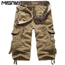 Misniki 2017 Топ Мода теленок-длина Для мужчин s брюки-карго Шорты для женщин Твердые multi-карман Для мужчин короткие штаны