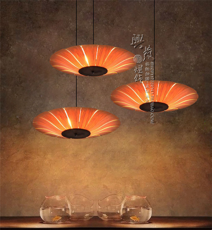 Japanese Oak Chandelier Lamp Bar2017 55CM Southeast Chinese Hotel Restaurant Dining Room Veneer By