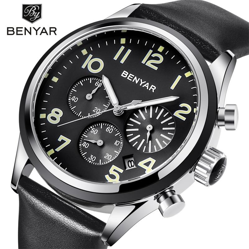 BENYAR Top Brand Luxury Men Business Leather Watch Army Military Chronograph Watch Male Quartz Wrist Watches Male Clock встраиваемая стиральная машина bosch wkd28541oe
