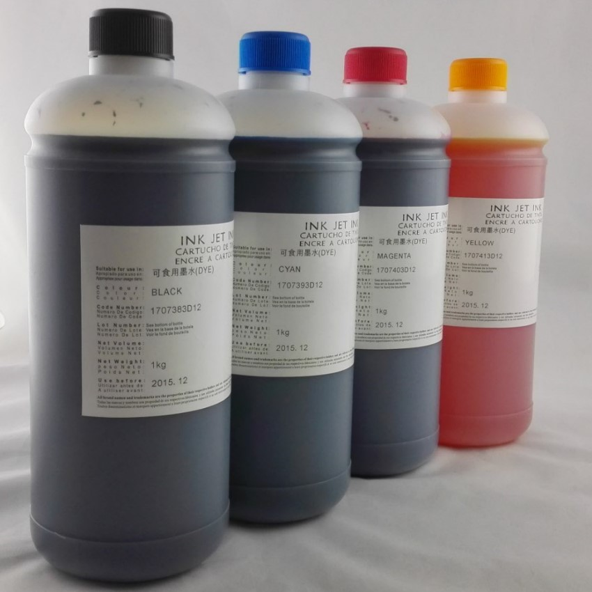 INK WAY On promotion,4*1000ML Universal Edible Ink For Canon Desktop Inkjet Printer BK C M Y led uv curable ink for epson 1390 printer head printing on hard materials for 3d effects 1000ml pcs 6c