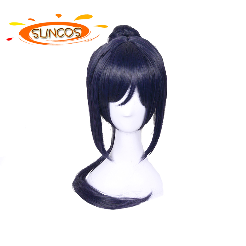 SUNCOS Straight High Temperature Fiber blue mix purple Ponytail Synthetic Hair longer 70cm 28' cosplay wigs