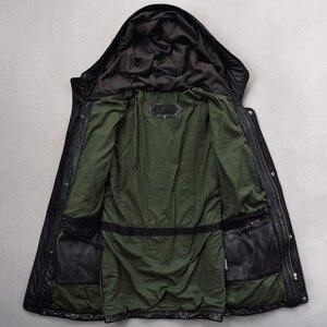 Image 3 - Italy Vintage Men Long Sheepskin Natural Leather Jacket Winter Real Leather Moto Biker Coat Top Brand Mult Pocket Hunting Jacket